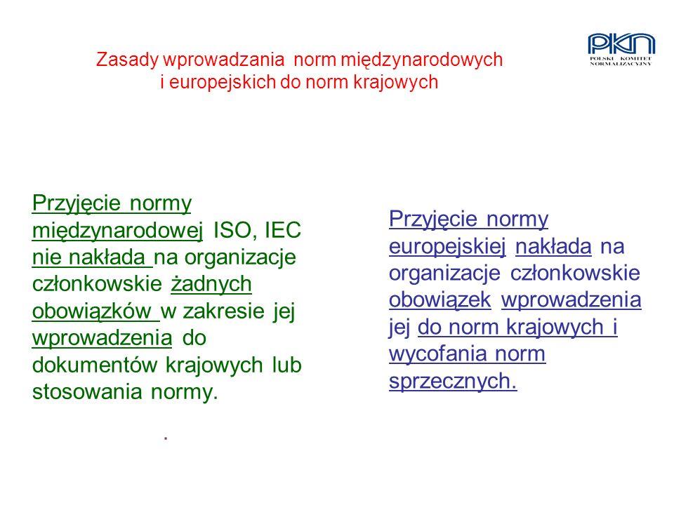 Zasady wprowadzania norm międzynarodowych i europejskich do norm krajowych Przyjęcie normy międzynarodowej ISO, IEC nie nakłada na organizacje członko