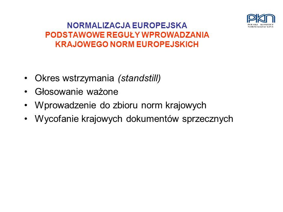 NORMALIZACJA EUROPEJSKA PODSTAWOWE REGUŁY WPROWADZANIA KRAJOWEGO NORM EUROPEJSKICH Okres wstrzymania (standstill) Głosowanie ważone Wprowadzenie do zb