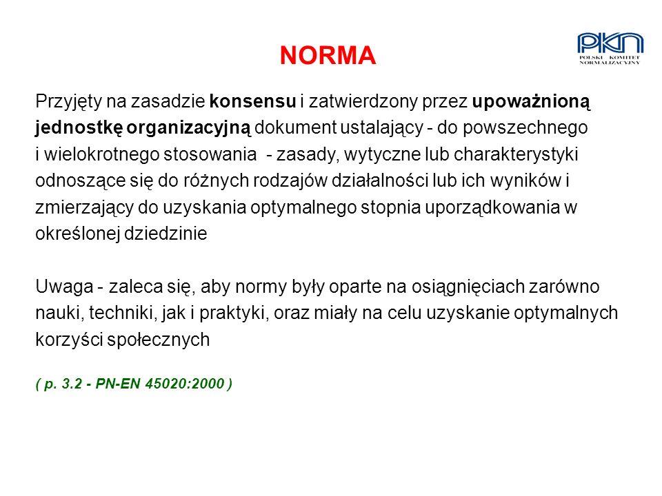 NORMA Przyjęty na zasadzie konsensu i zatwierdzony przez upoważnioną jednostkę organizacyjną dokument ustalający - do powszechnego i wielokrotnego sto