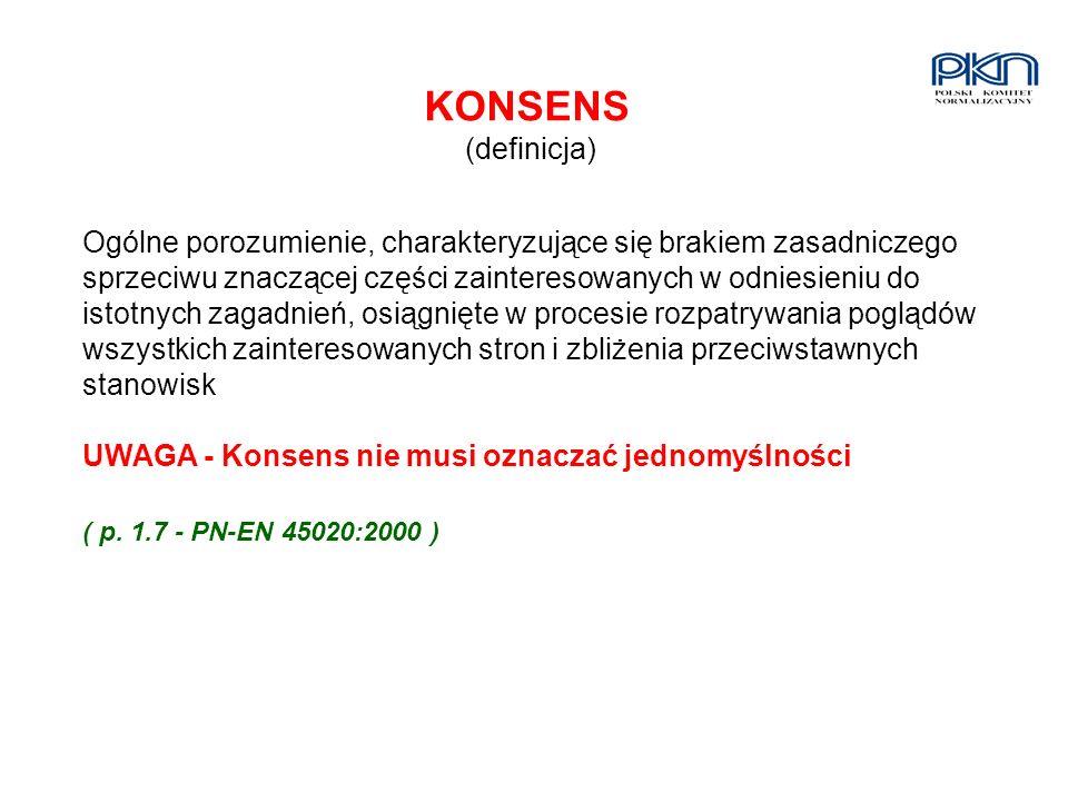 KONSENS (definicja) Ogólne porozumienie, charakteryzujące się brakiem zasadniczego sprzeciwu znaczącej części zainteresowanych w odniesieniu do istotn