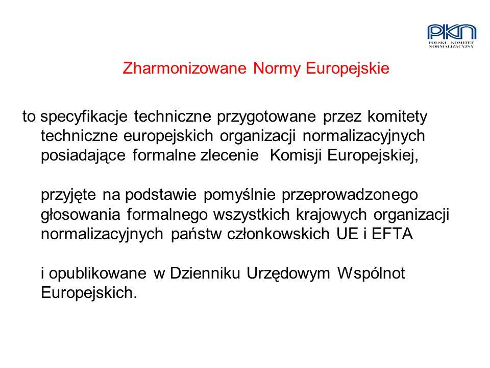 Zharmonizowane Normy Europejskie to specyfikacje techniczne przygotowane przez komitety techniczne europejskich organizacji normalizacyjnych posiadają