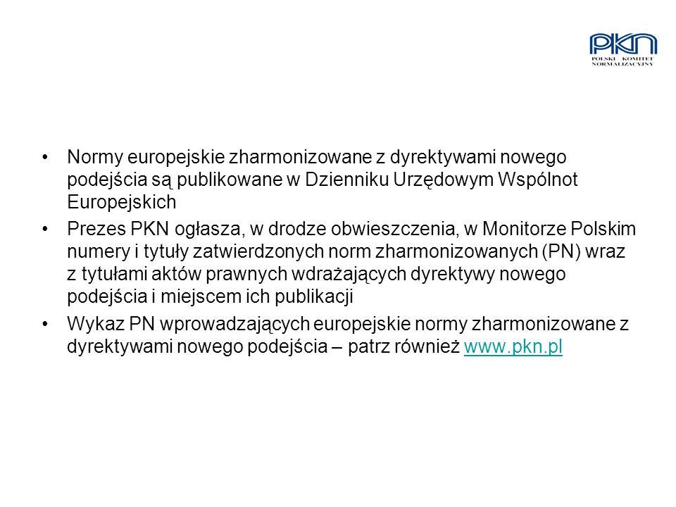 Normy europejskie zharmonizowane z dyrektywami nowego podejścia są publikowane w Dzienniku Urzędowym Wspólnot Europejskich Prezes PKN ogłasza, w drodz