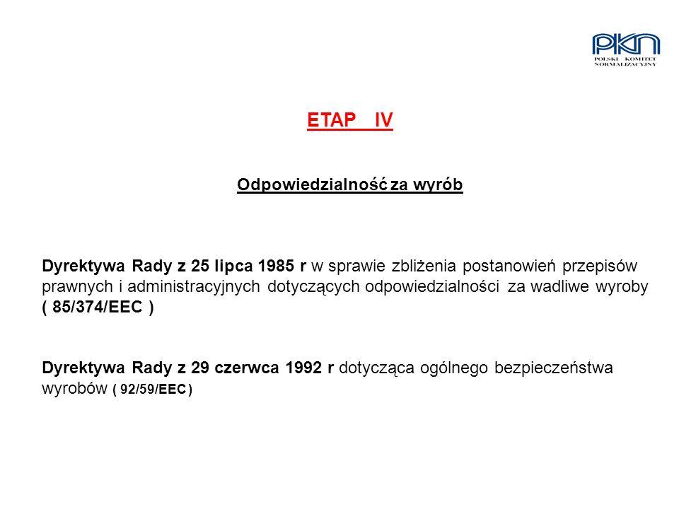 ETAPIV Odpowiedzialność za wyrób Dyrektywa Rady z 25 lipca 1985 r w sprawie zbliżenia postanowień przepisów prawnych i administracyjnych dotyczących o