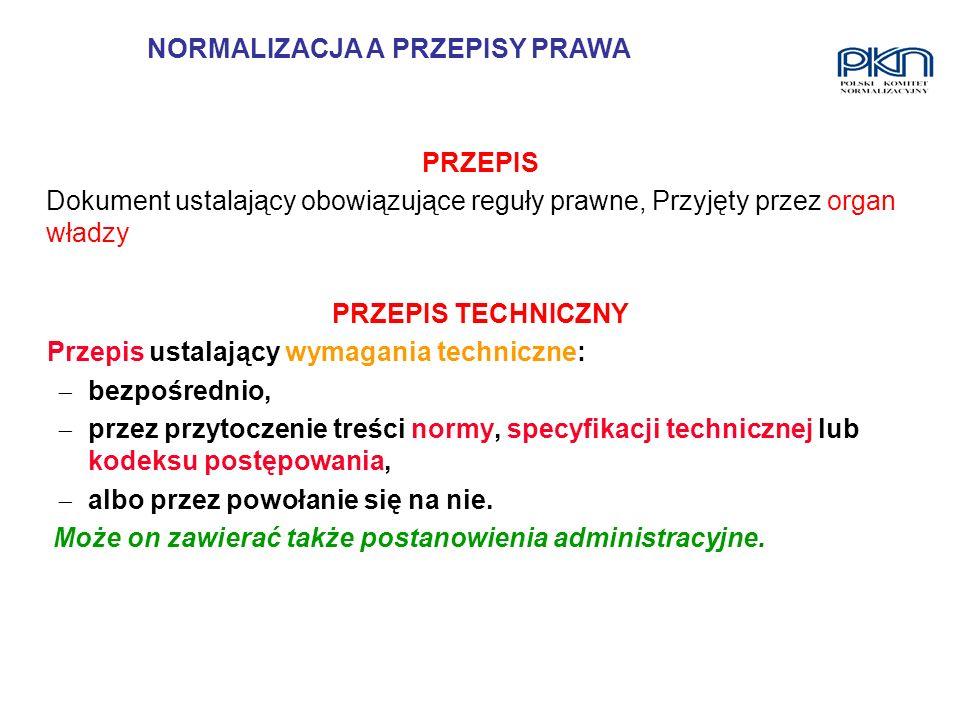 PRZEPIS TECHNICZNY Przepis ustalający wymagania techniczne: bezpośrednio, przez przytoczenie treści normy, specyfikacji technicznej lub kodeksu postęp