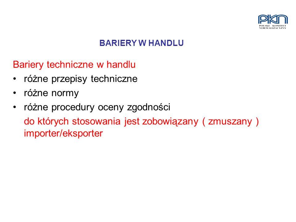 Bariery techniczne w handlu różne przepisy techniczne różne normy różne procedury oceny zgodności do których stosowania jest zobowiązany ( zmuszany )