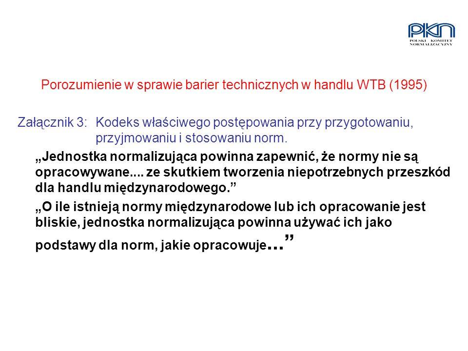Porozumienie w sprawie barier technicznych w handlu WTB (1995) Załącznik 3:Kodeks właściwego postępowania przy przygotowaniu, przyjmowaniu i stosowani
