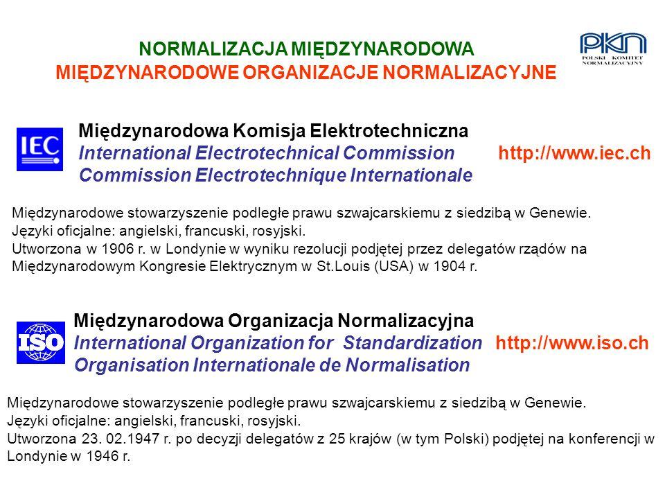 NORMALIZACJA MIĘDZYNARODOWA MIĘDZYNARODOWE ORGANIZACJE NORMALIZACYJNE Międzynarodowa Komisja Elektrotechniczna International Electrotechnical Commissi
