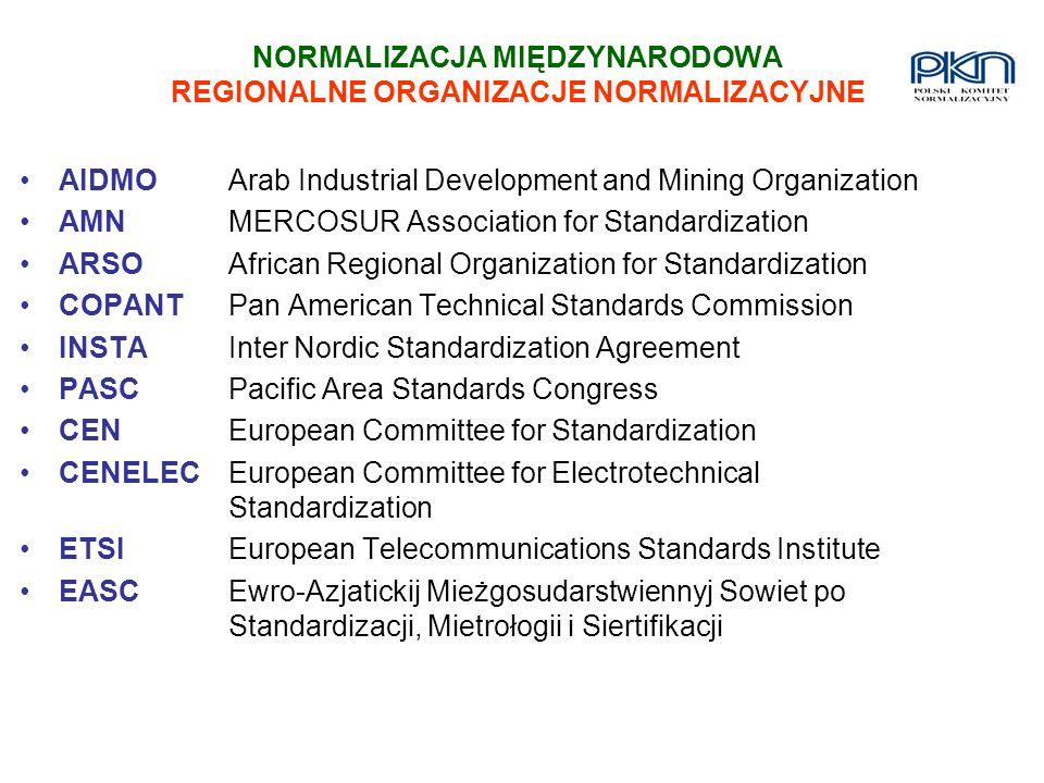 NORMALIZACJA MIĘDZYNARODOWA REGIONALNE ORGANIZACJE NORMALIZACYJNE AIDMOArab Industrial Development and Mining Organization AMNMERCOSUR Association for
