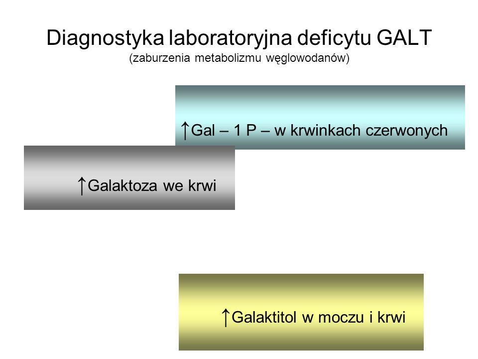 Gal – 1 P – w krwinkach czerwonych Diagnostyka laboratoryjna deficytu GALT (zaburzenia metabolizmu węglowodanów) Galaktoza we krwi Galaktitol w moczu