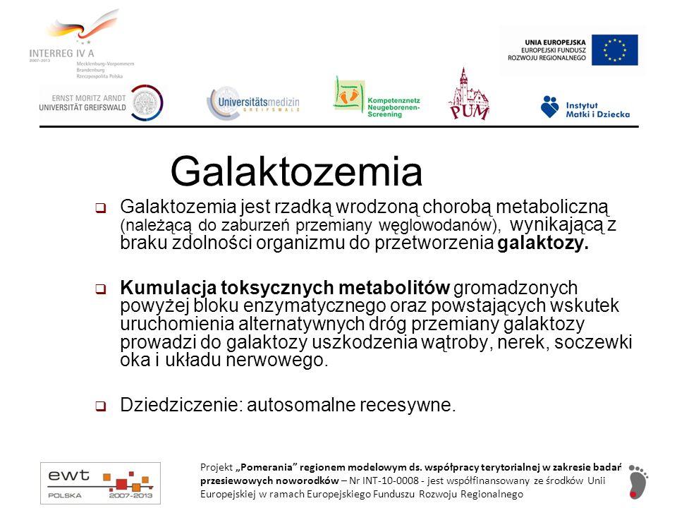 Rozpoznanie galaktozemii – pomiar stężenia galaktozy (surowica, erytrocyty, sucha kropla krwi) Gdy stężenie galaktozy (całkowitej): 20-30 mg/dl (1,1-1,7 mM), to: powtórzyć test skriningowy (sucha kropla krwi): galaktoza, aktywność GALT nie wprowadzać leczenia, kontrola w warunkach ambulatoryjnych Gdy stężenie galaktozy: 30-40 mg/dl (1,7-2,2mM), to: powtórzyć test skriningowy (sucha kropla krwi): galaktozemia, aktywność GALT, wprowadzić mleko bezlaktozowe, kontrola w warunkach ambulatoryjnych, ostateczna decyzja leczenia dietą po otrzymaniu wyników badań Gdy stężenie galaktozy: >40 mg/dl (>2,2 mM), to: natychmiastowa hospitalizacja, natychmiast wprowadzić mleko bezlaktozowe, ocena kliniczna: stan ogólny, dokładna ocena czynności wątroby i nerek (krzepnięcie, USG, transaminazy, kreatynina, mocznik) badania specjalistyczne: galaktoza, galaktozo - 1 fosforan, aktywność GALT