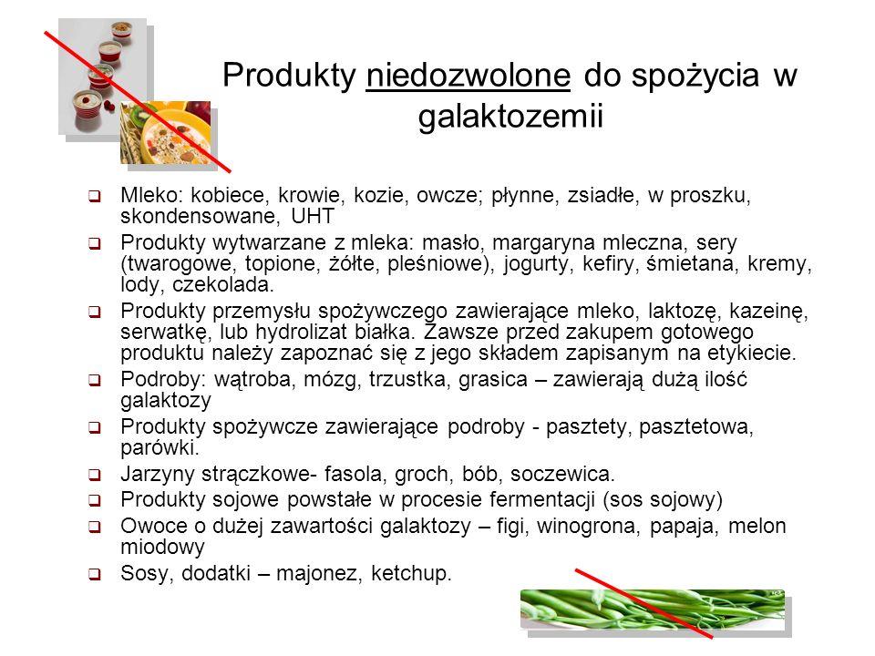 Produkty niedozwolone do spożycia w galaktozemii Mleko: kobiece, krowie, kozie, owcze; płynne, zsiadłe, w proszku, skondensowane, UHT Produkty wytwarz