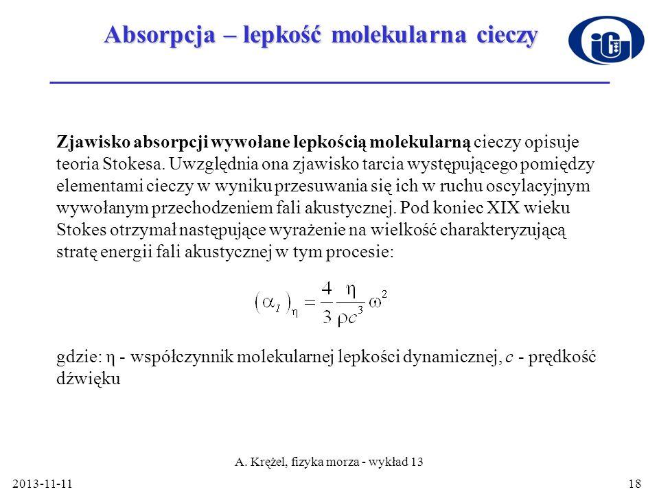 2013-11-11 A. Krężel, fizyka morza - wykład 13 18 Absorpcja – lepkość molekularna cieczy Zjawisko absorpcji wywołane lepkością molekularną cieczy opis