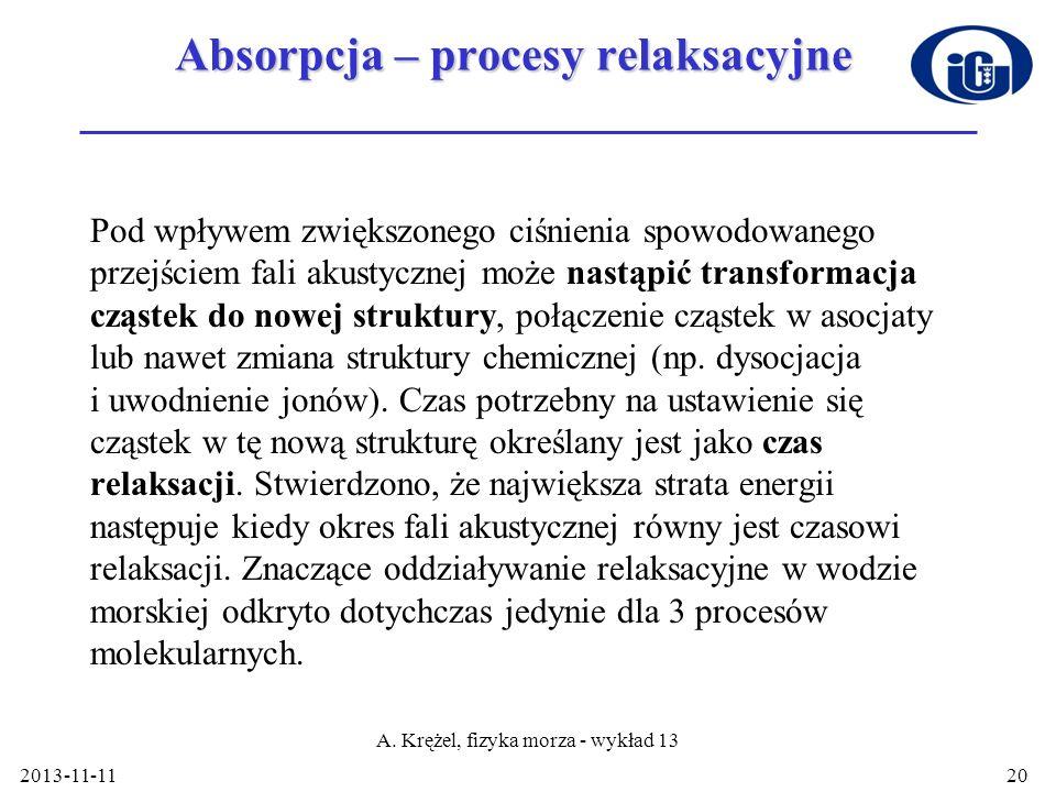 2013-11-11 A. Krężel, fizyka morza - wykład 13 20 Absorpcja – procesy relaksacyjne Pod wpływem zwiększonego ciśnienia spowodowanego przejściem fali a