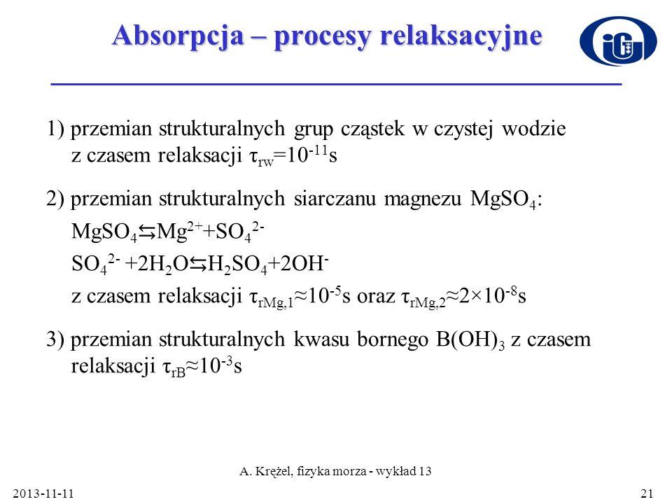 2013-11-11 A. Krężel, fizyka morza - wykład 13 21 Absorpcja – procesy relaksacyjne 1) przemian strukturalnych grup cząstek w czystej wodzie z czasem r