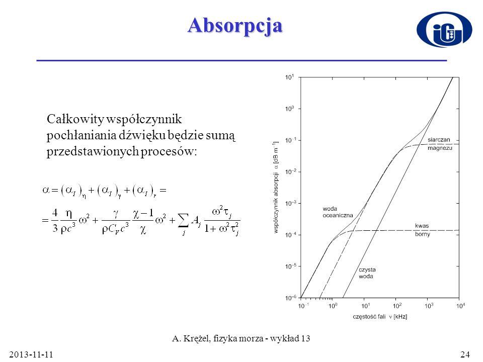 2013-11-11 A. Krężel, fizyka morza - wykład 13 24Absorpcja Całkowity współczynnik pochłaniania dźwięku będzie sumą przedstawionych procesów: