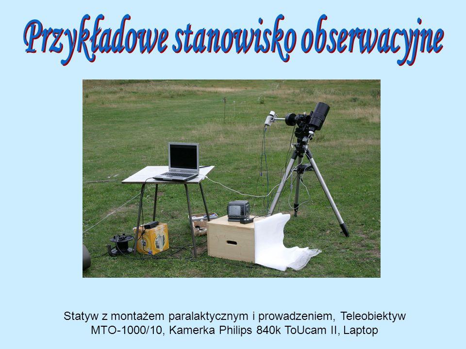 Statyw z montażem paralaktycznym i prowadzeniem, Teleobiektyw MTO-1000/10, Kamerka Philips 840k ToUcam II, Laptop