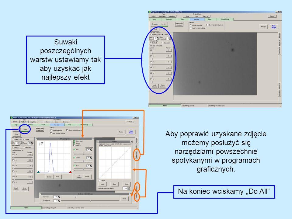 Aby poprawić uzyskane zdjęcie możemy posłużyć się narzędziami powszechnie spotykanymi w programach graficznych. Suwaki poszczególnych warstw ustawiamy