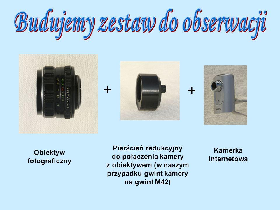 + + Obiektyw fotograficzny Pierścień redukcyjny do połączenia kamery z obiektywem (w naszym przypadku gwint kamery na gwint M42) Kamerka internetowa