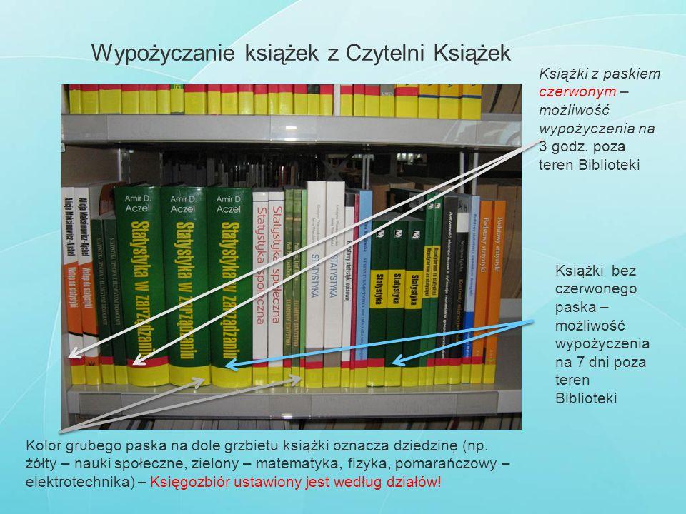 Wypożyczanie książek z Czytelni Książek Książki z paskiem czerwonym – możliwość wypożyczenia na 3 godz. poza teren Biblioteki Książki bez czerwonego p