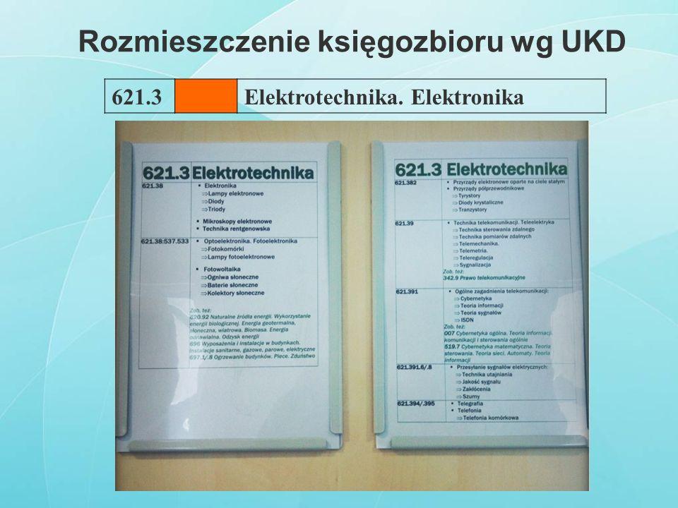Rozmieszczenie księgozbioru wg UKD 621.3Elektrotechnika. Elektronika