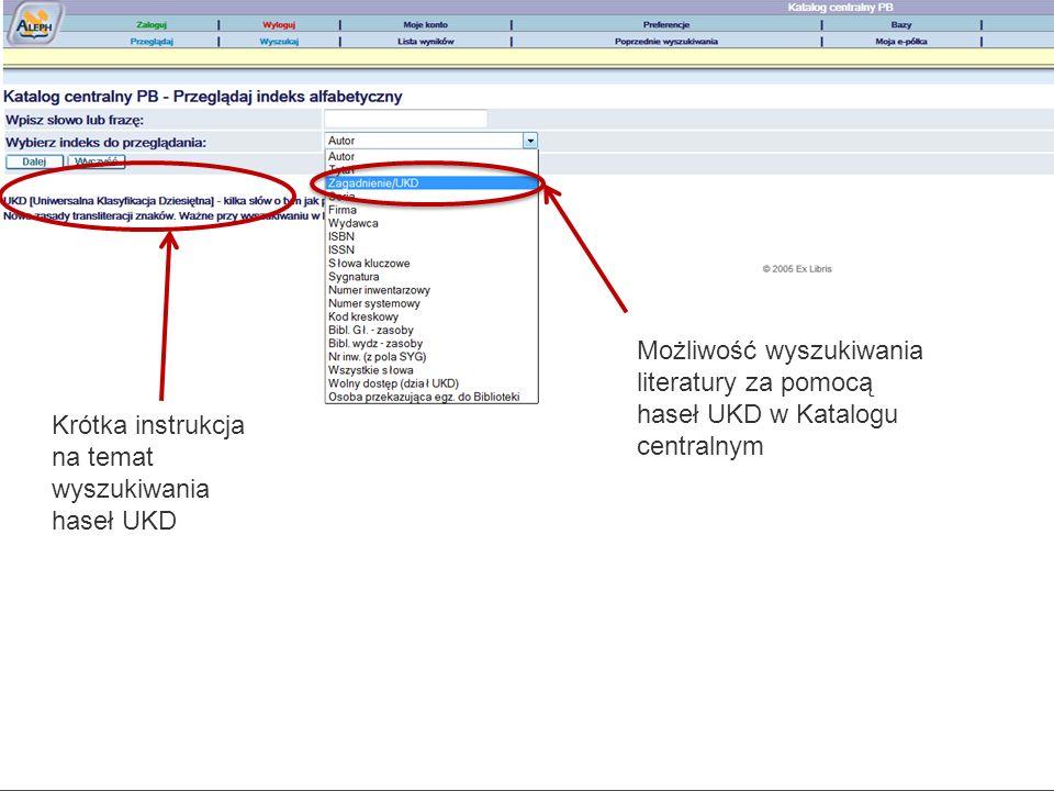 Możliwość wyszukiwania literatury za pomocą haseł UKD w Katalogu centralnym Krótka instrukcja na temat wyszukiwania haseł UKD