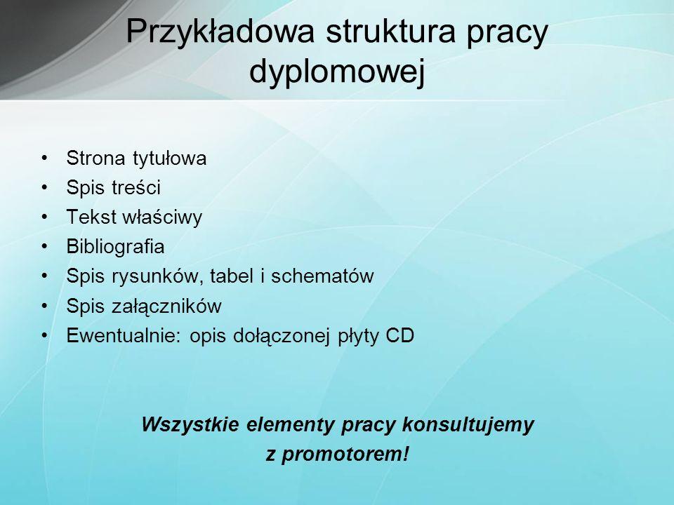 Przykładowa struktura pracy dyplomowej Strona tytułowa Spis treści Tekst właściwy Bibliografia Spis rysunków, tabel i schematów Spis załączników Ewent