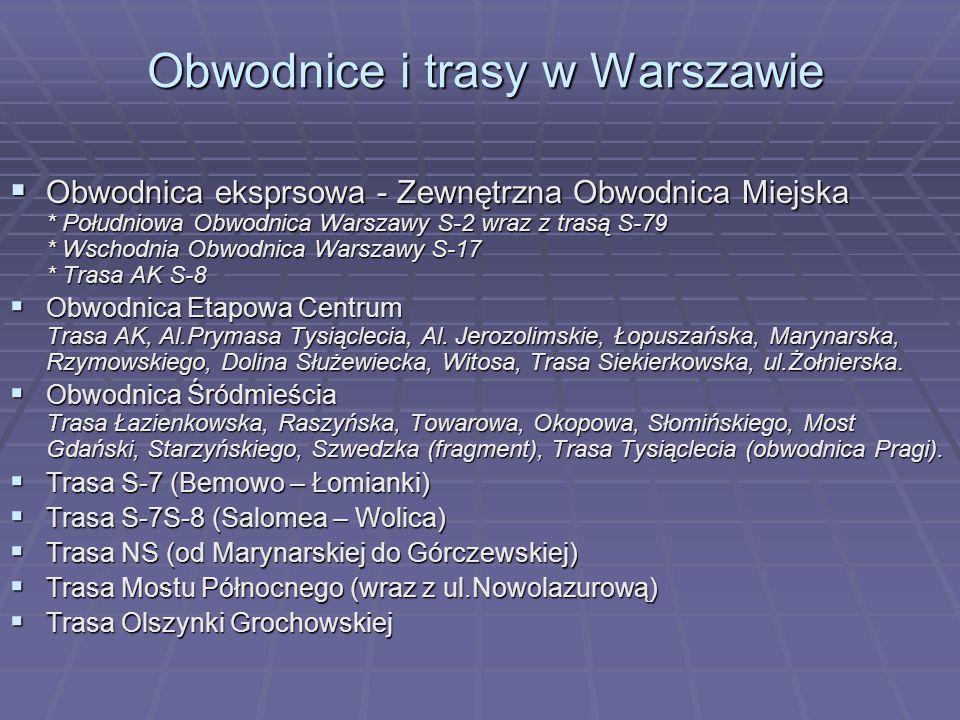 Obwodnica eksprsowa - Zewnętrzna Obwodnica Miejska * Południowa Obwodnica Warszawy S-2 wraz z trasą S-79 * Wschodnia Obwodnica Warszawy S-17 * Trasa A