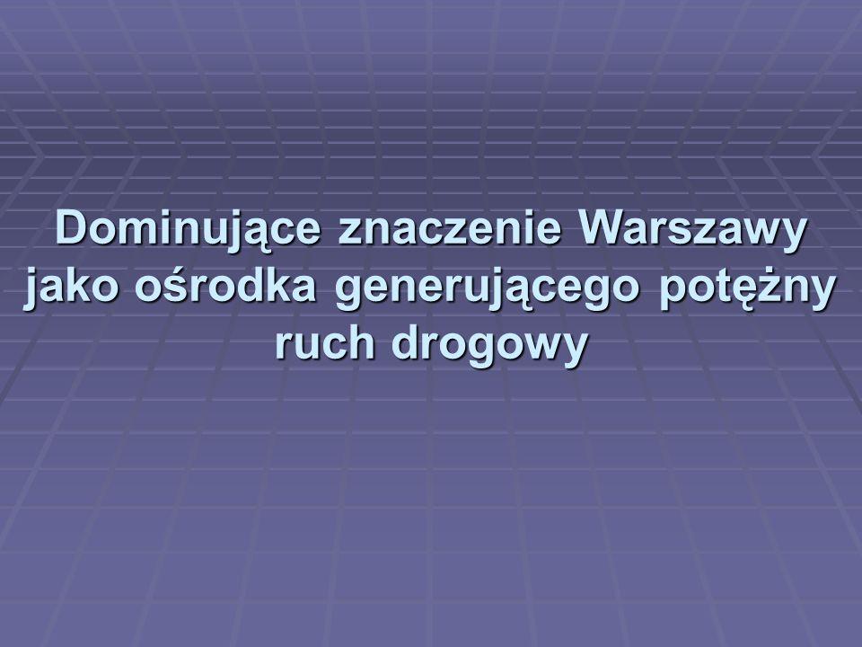 Dominujące znaczenie Warszawy jako ośrodka generującego potężny ruch drogowy