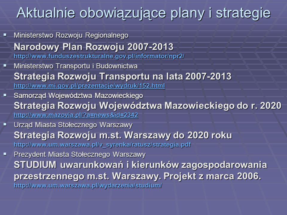 Aktualnie obowiązujące plany i strategie Ministerstwo Rozwoju Regionalnego Narodowy Plan Rozwoju 2007-2013 http://www.funduszestrukturalne.gov.pl/info