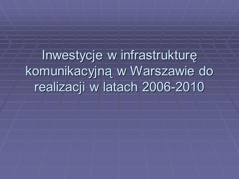 Inwestycje w infrastrukturę komunikacyjną w Warszawie do realizacji w latach 2006-2010