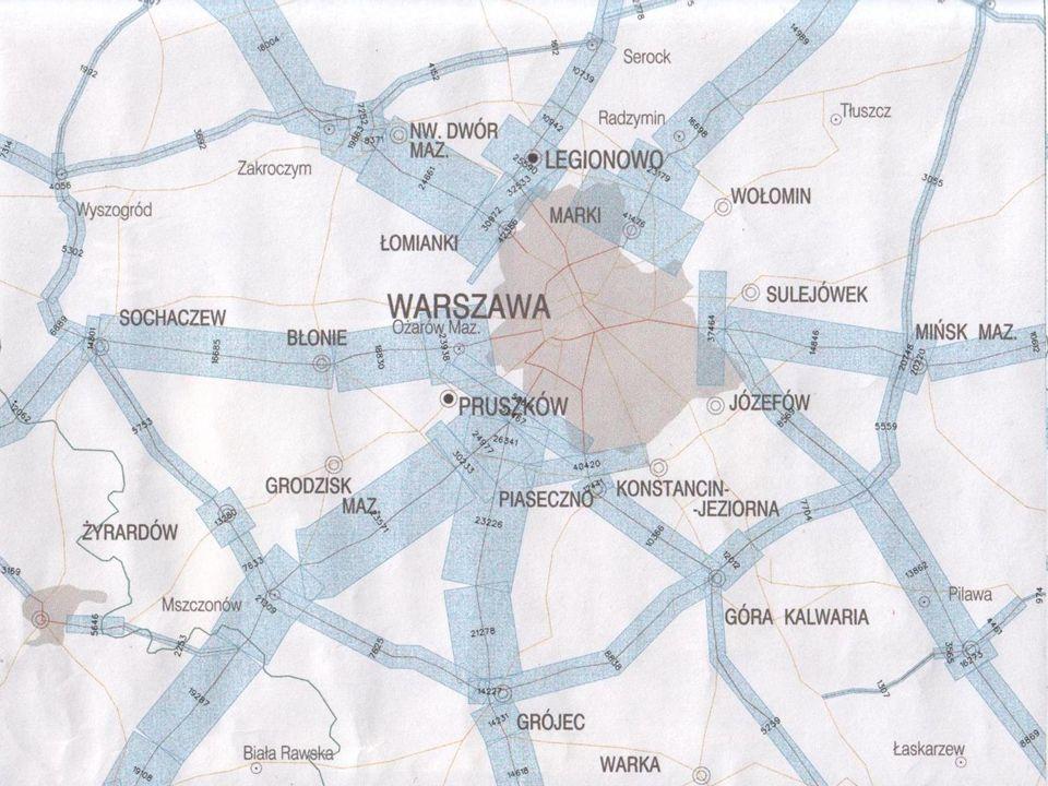 Udział poszczególnych środków transportu w podróżach niepieszych Ruch wewnątrz Warszawy Autobus miejski - 35.