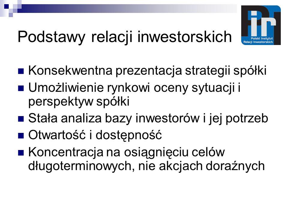 Podstawy relacji inwestorskich Konsekwentna prezentacja strategii spółki Umożliwienie rynkowi oceny sytuacji i perspektyw spółki Stała analiza bazy inwestorów i jej potrzeb Otwartość i dostępność Koncentracja na osiągnięciu celów długoterminowych, nie akcjach doraźnych