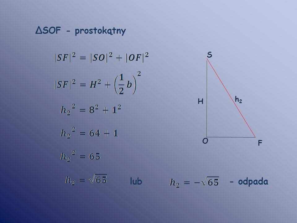 S F O ΔSOF - prostokątny lub - odpada H h2h2