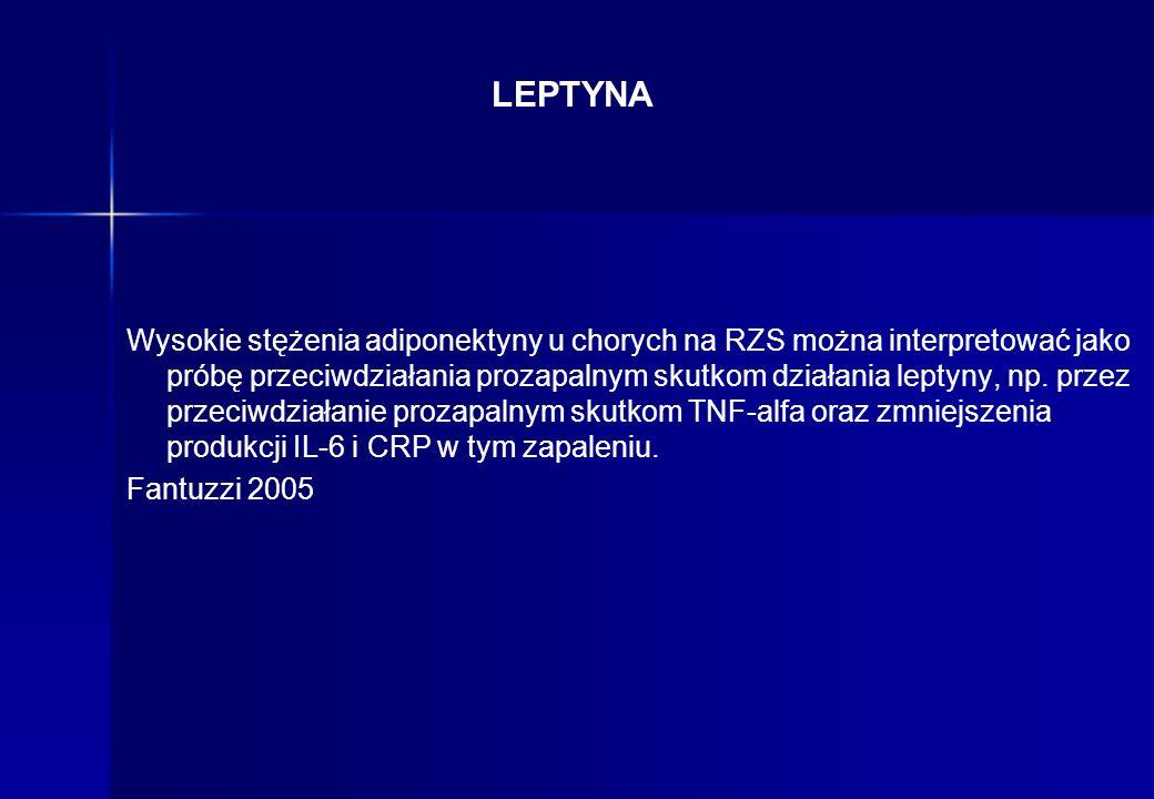 LEPTYNA Wysokie stężenia adiponektyny u chorych na RZS można interpretować jako próbę przeciwdziałania prozapalnym skutkom działania leptyny, np. prze