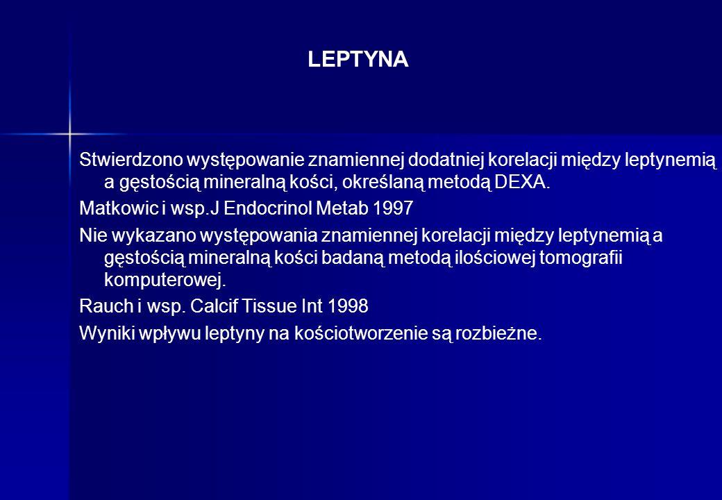 LEPTYNA Stwierdzono występowanie znamiennej dodatniej korelacji między leptynemią a gęstością mineralną kości, określaną metodą DEXA. Matkowic i wsp.J