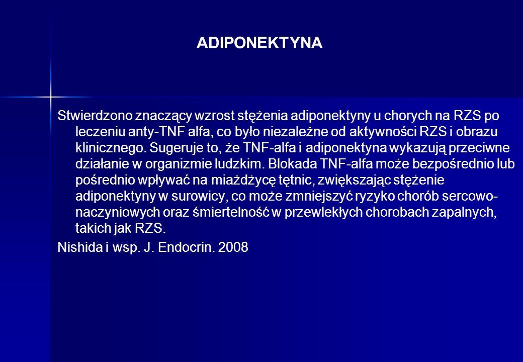 ADIPONEKTYNA Stwierdzono znaczący wzrost stężenia adiponektyny u chorych na RZS po leczeniu anty-TNF alfa, co było niezależne od aktywności RZS i obra