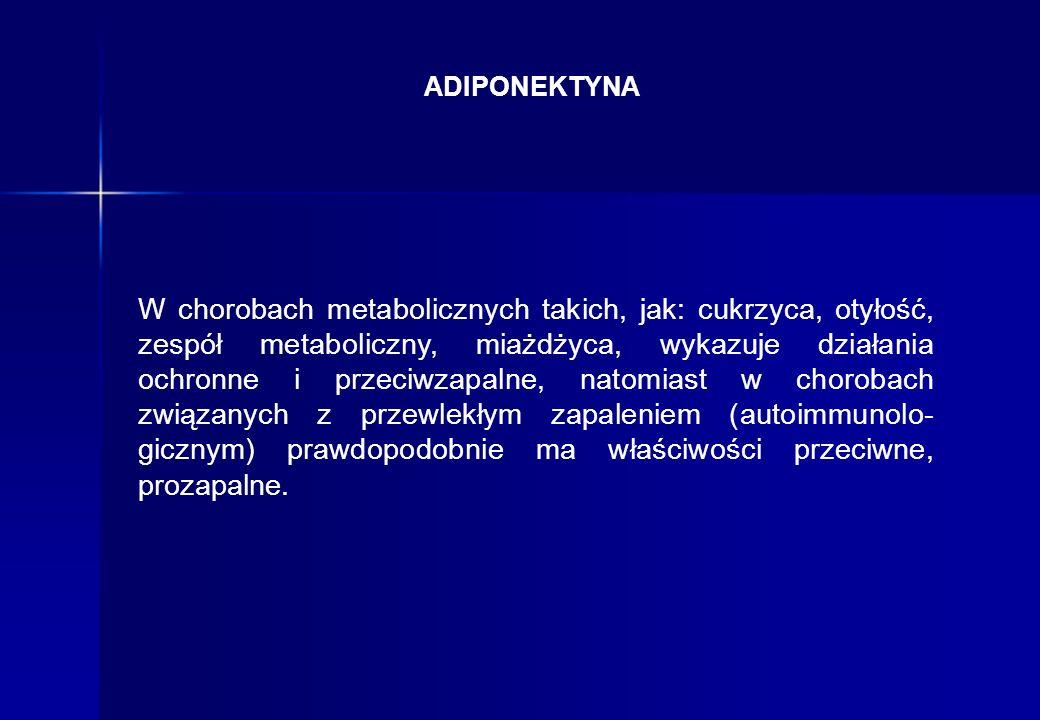 W chorobach metabolicznych takich, jak: cukrzyca, otyłość, zespół metaboliczny, miażdżyca, wykazuje działania ochronne i przeciwzapalne, natomiast w c