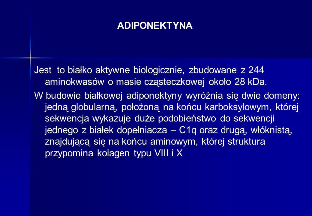 ADIPONEKTYNA Stwierdzono znaczący wzrost stężenia adiponektyny u chorych na RZS po leczeniu anty-TNF alfa, co było niezależne od aktywności RZS i obrazu klinicznego.