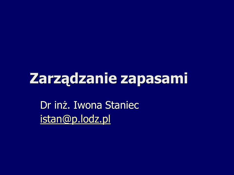 Zarządzanie zapasami Dr inż. Iwona Staniec istan@p.lodz.pl