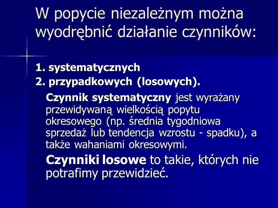 W popycie niezależnym można wyodrębnić działanie czynników: 1. systematycznych 2. przypadkowych (losowych). Czynnik systematyczny jest wyrażany przewi
