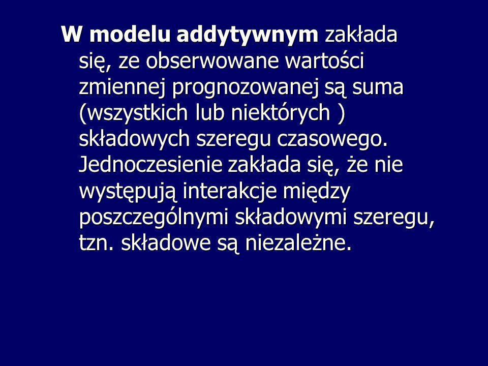 W modelu addytywnym zakłada się, ze obserwowane wartości zmiennej prognozowanej są suma (wszystkich lub niektórych ) składowych szeregu czasowego. Jed