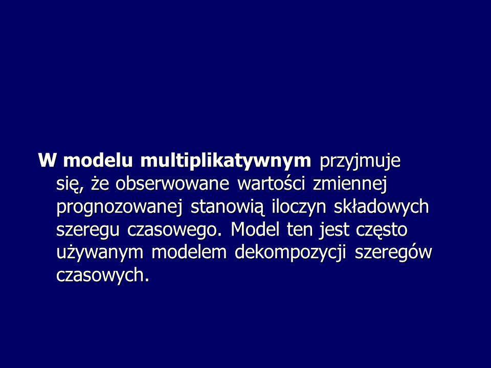 W modelu multiplikatywnym przyjmuje się, że obserwowane wartości zmiennej prognozowanej stanowią iloczyn składowych szeregu czasowego. Model ten jest