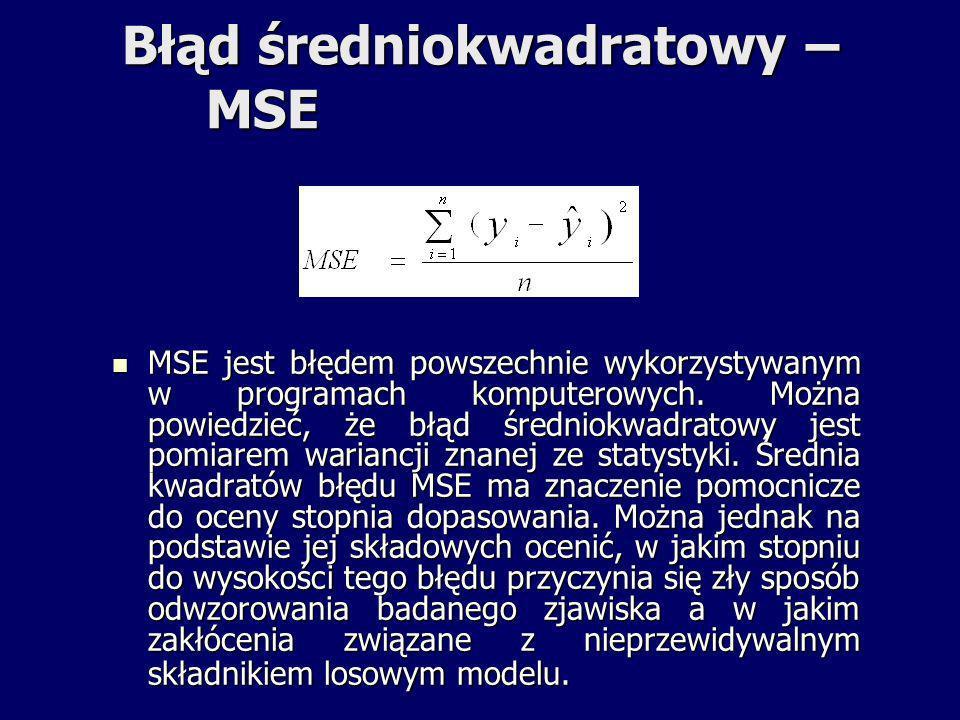 Błąd średniokwadratowy – MSE MSE jest błędem powszechnie wykorzystywanym w programach komputerowych. Można powiedzieć, że błąd średniokwadratowy jest