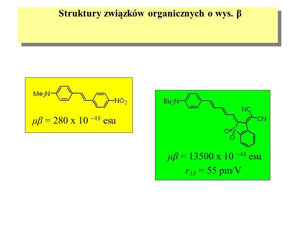 Struktury związków organicznych o wys. β r 33 = 55 pm/V μβ = 280 x 10 –48 esu μβ = 13500 x 10 –48 esu