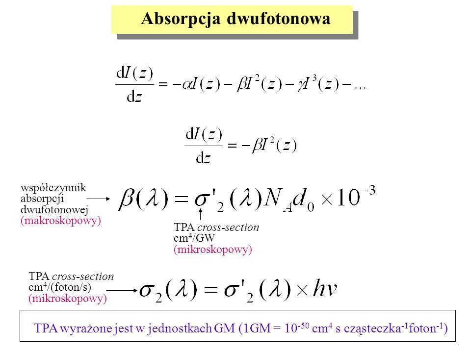TPA wyrażone jest w jednostkach GM (1GM = 10 -50 cm 4 s cząsteczka -1 foton -1 ) Absorpcja dwufotonowa współczynnik absorpcji dwufotonowej (makroskopo