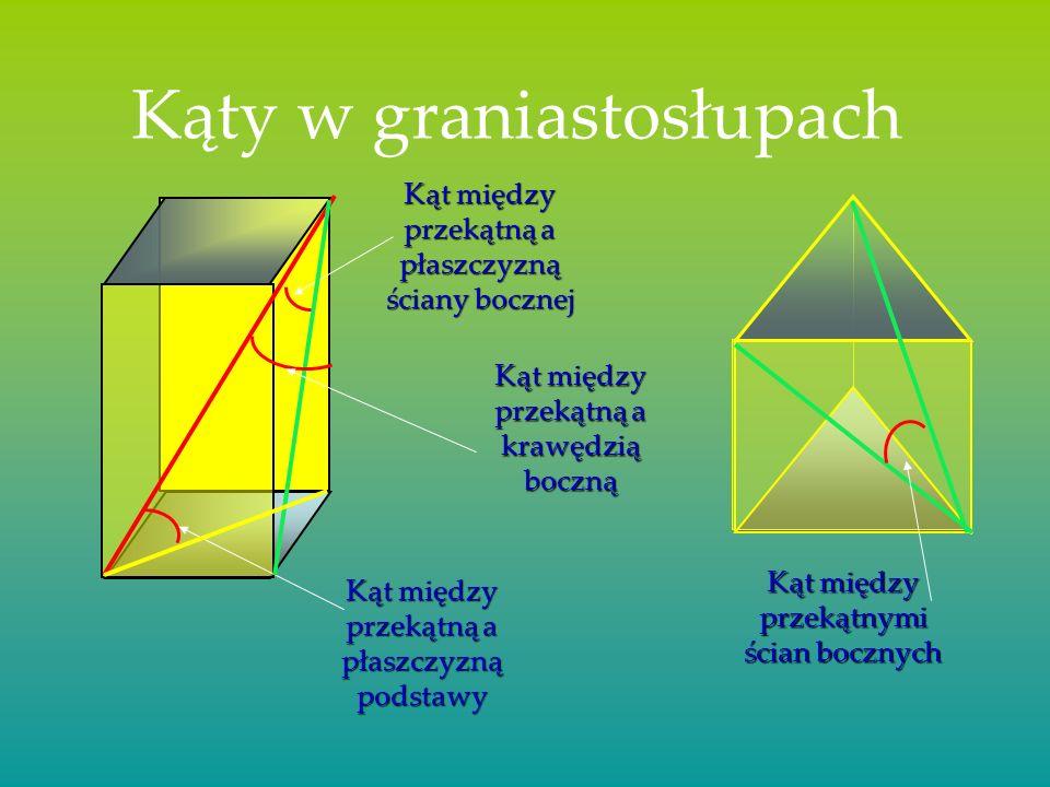 Odcinki w graniastosłupach Przekątna graniastosłupa Przekątna ściany bocznej Przekątna podstawy