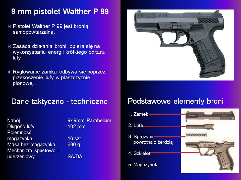 Bezpieczniki Walthera P 99 Blokada iglicy - znajduje się w pozycji spoczynku blokując kanał iglicy (5).