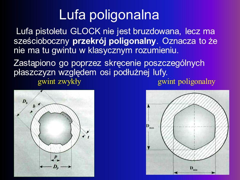 Lufa poligonalna Lufa pistoletu GLOCK nie jest bruzdowana, lecz ma sześcioboczny przekrój poligonalny. Oznacza to że nie ma tu gwintu w klasycznym roz