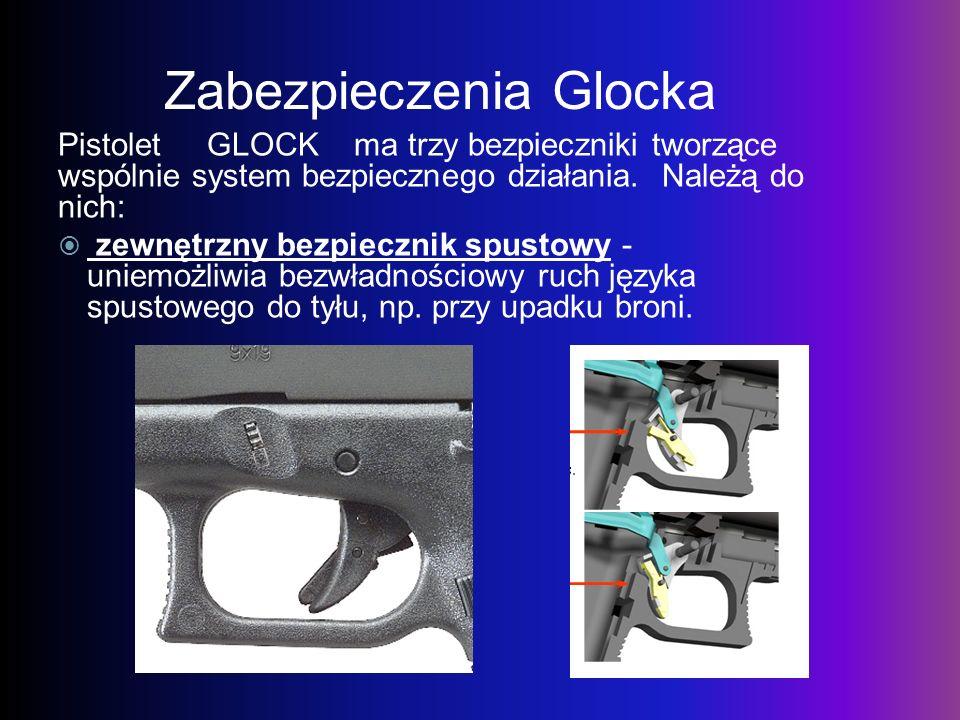 Zabezpieczenia Glocka Pistolet GLOCK ma trzy bezpieczniki tworzące wspólnie system bezpiecznego działania. Należą do nich: zewnętrzny bezpiecznik spus