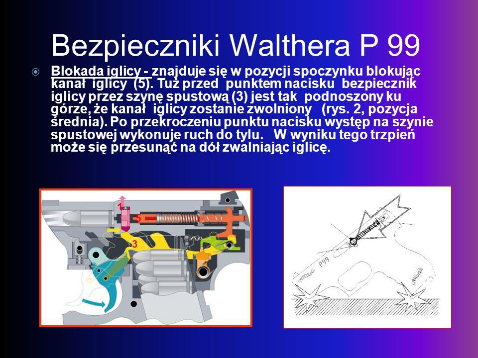 Bezpieczniki Walthera P 99 Blokada iglicy - znajduje się w pozycji spoczynku blokując kanał iglicy (5). Tuż przed punktem nacisku bezpiecznik iglicy p